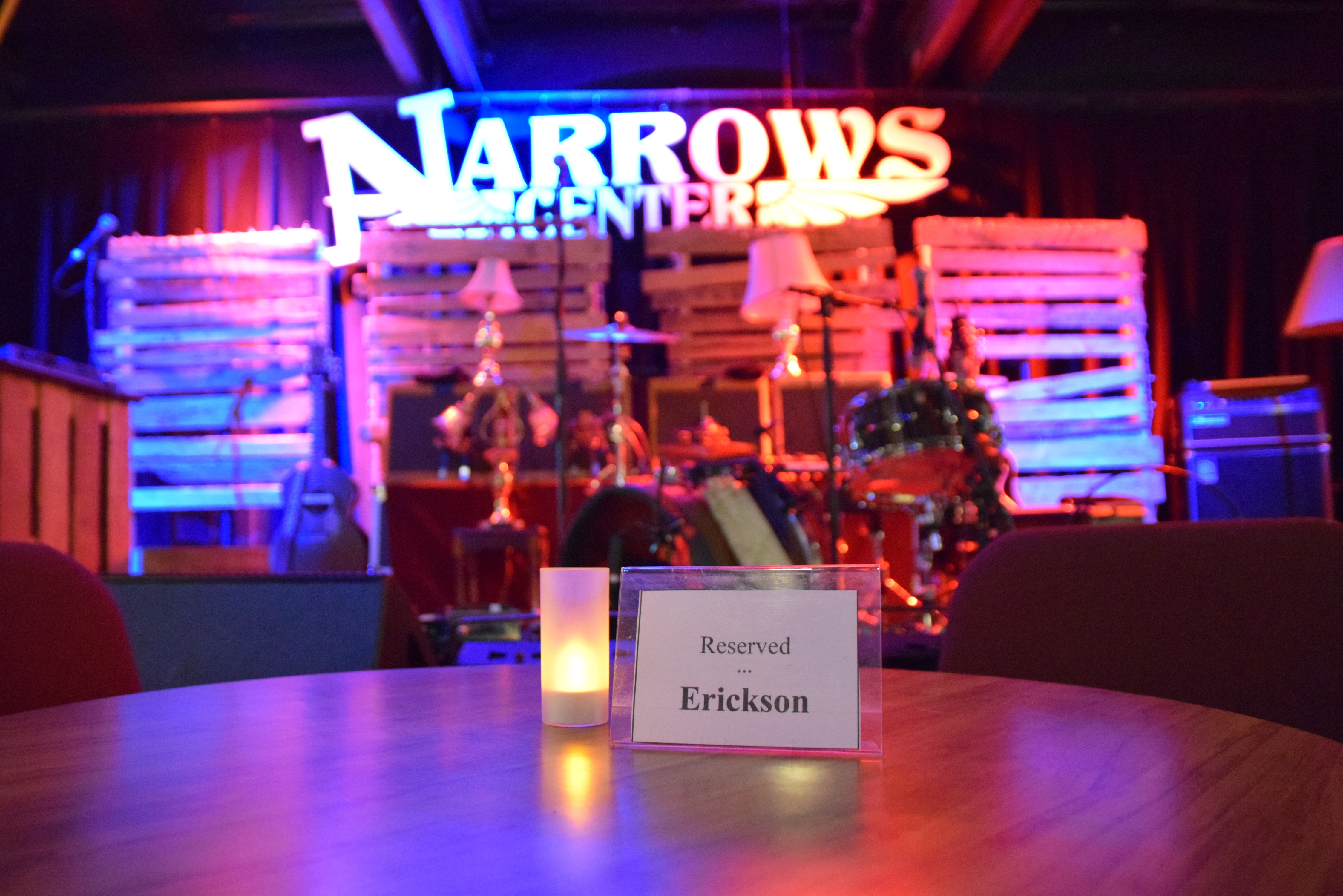 Reserved tables are gifted through our Friends of the Narrows program.